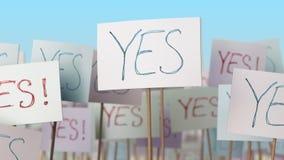 JA plakat på gatademonstrationen begreppsmässigt framförande 3d Arkivbilder