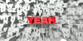 JA - Roter Text auf Typografiehintergrund - 3D übertrug freies Archivbild der Abgabe Lizenzfreie Stockbilder