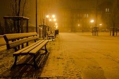 Ja ` s pierwszy opad śniegu sezon zdjęcia stock