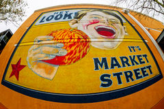 Ja ` s rynku znak uliczny Zdjęcia Stock