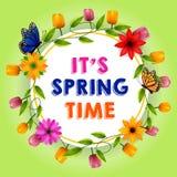 Ja ` s wiosny czasu powitania tła projekta wektorowy szablon z biel przestrzenią dla teksta, kolorowych kwiatów i elementów dla w ilustracji