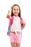 Ja! 1st dag av skolan! Arkivfoto