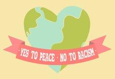 Ja till fred, inte till rasismaffischen Hjärta formade fridsam planetjord royaltyfri illustrationer
