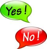 Ja und keine Spracheblasen Lizenzfreie Stockbilder