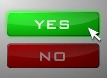 Ja und keine Tasten Lizenzfreie Stockfotos