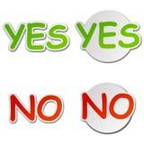 Ja und keine Vektor-Aufkleber vektor abbildung