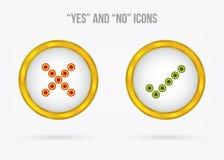 Ja und keine vektorikonen Lizenzfreie Stockbilder