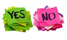 Ja und NO-Abstimmung-, Abstimmung- oder Übersichtskonzept Lizenzfreie Stockfotos