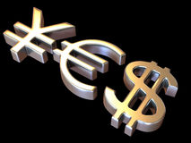 JA van tekensYen, dollar en euro Royalty-vrije Stock Foto's