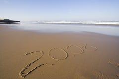 Jaar 2008 in het zand Stock Foto's