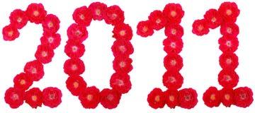 Jaar 2011. Aantal dat door rozen wordt opgemaakt Stock Fotografie
