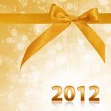 Jaar 2012 met gouden fonkelende achtergrond Stock Afbeeldingen