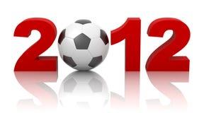 Jaar 2012 met voetbalbal die op wit wordt geïsoleerdg Stock Afbeelding