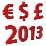 Jaar 2013, munt⬠$ £ stock illustratie