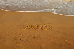 Jaar 2015 aantal op zandig strand Stock Afbeelding
