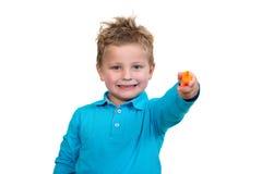 3 jaar de oude van het kindpunt oranje pen Royalty-vrije Stock Foto's