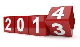 Jaar 2013 draaien aan jaar 2014 Stock Fotografie