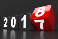 Jaar 2017 draaien tot 2018 Stock Foto