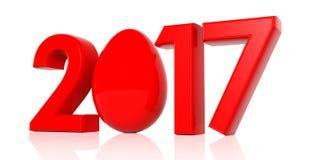 Jaar 2017 en paasei op witte achtergrond 3D Illustratie Stock Illustratie