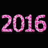 Jaar - 2016 gemaakt met orchideeaantal Royalty-vrije Stock Foto