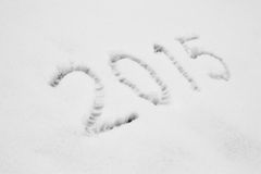 Jaar 2015 geschreven in Sneeuw Stock Afbeeldingen