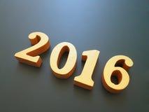 Jaar 2016, gouden hout van het aantal van 2016 op zwarte achtergrond, Gelukkig nieuw jaar 2016, Gelukkige Nieuwjaarachtergrond vo Royalty-vrije Stock Foto's