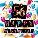 56 jaar gouden verjaardags Royalty-vrije Illustratie