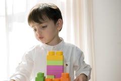 2 jaar het oude babyjongen spelen met blokken Stock Fotografie