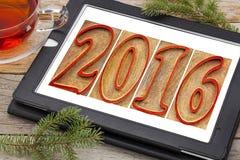 Jaar 2016 in houten type op tablet Royalty-vrije Stock Afbeeldingen