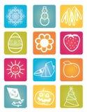 Jaar-kalander-kleur-pictogrammen Stock Foto