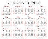Jaar 2015 Kalender stock illustratie