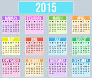 Jaar 2015 Kalender Royalty-vrije Stock Foto's