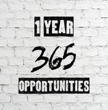 1 jaar 365 kansen, citaat Royalty-vrije Stock Afbeelding