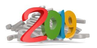 Jaar 2019 met witte achtergrond Stock Afbeelding