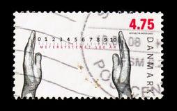 100 jaar metrisch systeem, handen en schaal, Metrisch systeem serie, circa 2007 stock afbeeldingen