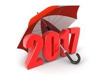 Jaar 2017 onder paraplu royalty-vrije illustratie