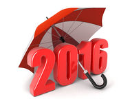 Jaar 2016 onder paraplu (het knippen inbegrepen weg) Stock Foto