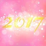 Jaar 2017 op roze abstracte achtergrond De elegante lay-out met magisch schittert fonkelingen Stock Foto