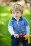 2 jaar oude peuter die op zijn eerste fiets berijdt Stock Fotografie