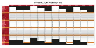 Jaar planningskalender voor 2019 in het Duits - Jahresplanung kalend stock illustratie