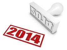 Jaar 2014 Rubberzegel Stock Foto's