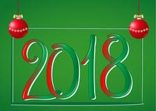 2018 Jaar Twee Duizend Achttien Het van letters voorzien op green royalty-vrije illustratie