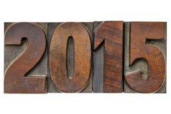 Jaar 2015 in uitstekend houten type Royalty-vrije Stock Foto