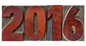 Jaar 2016 in uitstekend houten type Stock Afbeelding