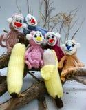 Jaar van aap, gebreid stuk speelgoed, met de hand gemaakt symbool, Stock Afbeelding