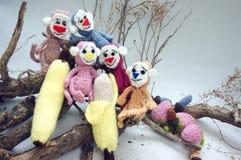 Jaar van aap, gebreid stuk speelgoed, met de hand gemaakt symbool, Stock Foto's