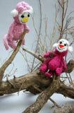Jaar van aap, gebreid stuk speelgoed, met de hand gemaakt symbool, Stock Foto