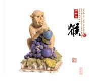 2016 is jaar van de aap, Gouden aap Stock Fotografie