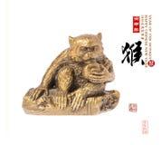 2016 is jaar van de aap, Gouden aap, Chinese kalligrafie trans Royalty-vrije Stock Afbeeldingen