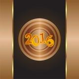 Jaar van de Aap 2016 - gouden groetkaart nieuwe jaarbrief Royalty-vrije Stock Fotografie